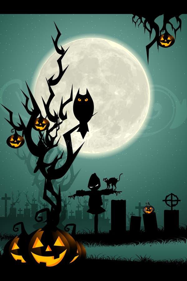 Nuit de Veille de la toussaint dans le cimetière illustration stock