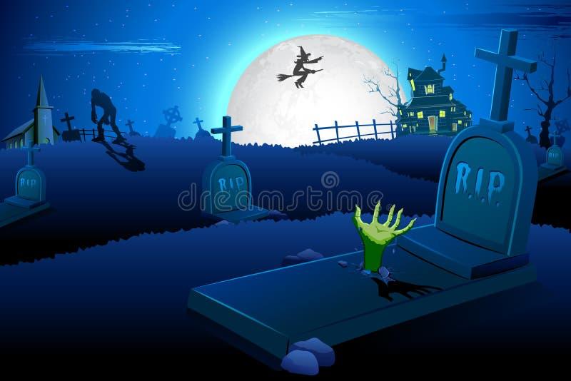 Nuit de Veille de la toussaint dans le cimetière illustration de vecteur