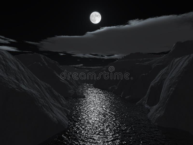 Nuit de Veille de la toussaint sur la gorge grande illustration de vecteur