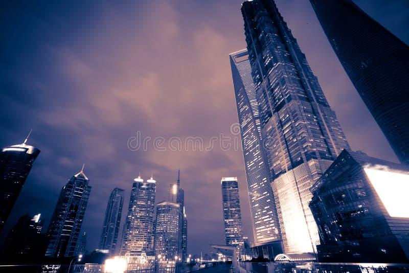 Nuit de ville de Shanghai Pudong photo libre de droits