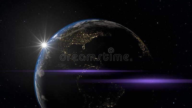 nuit de vue de l'espace de la terre illustration libre de droits