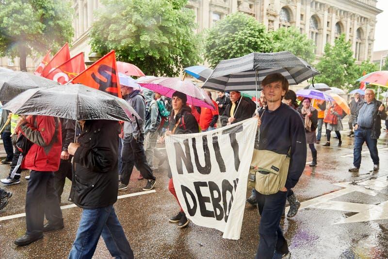 Nuit debout plakat przy może protestować przeciw Francja pracy reformom obrazy royalty free