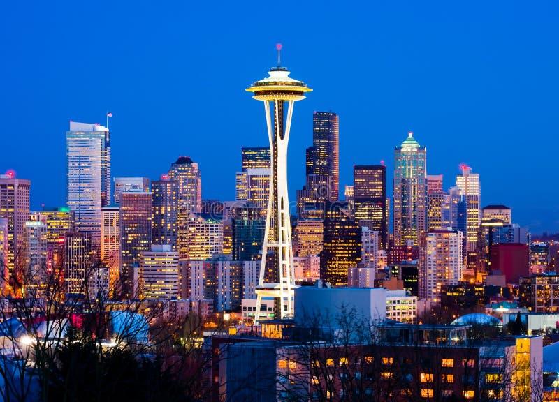 nuit du centre Seattle images stock