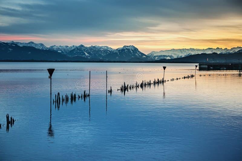 Nuit du Lac de Constance photo stock