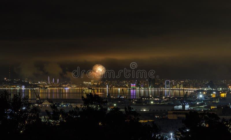 Nuit du ` s de nouvelle année à Bakou photographie stock libre de droits