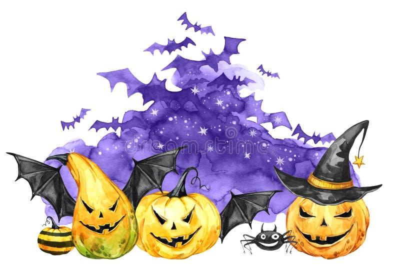 Nuit effrayante d'aquarelle, troupeau des battes et potirons de vacances Illustration de vacances de Halloween Magie, symbole d'h illustration stock