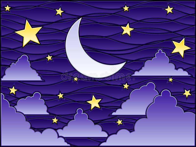 Nuit en verre souillé illustration stock