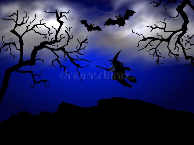 Nuit fantasmagorique de veille de la toussaint illustration stock