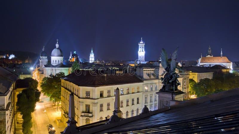 Nuit Lviv images libres de droits