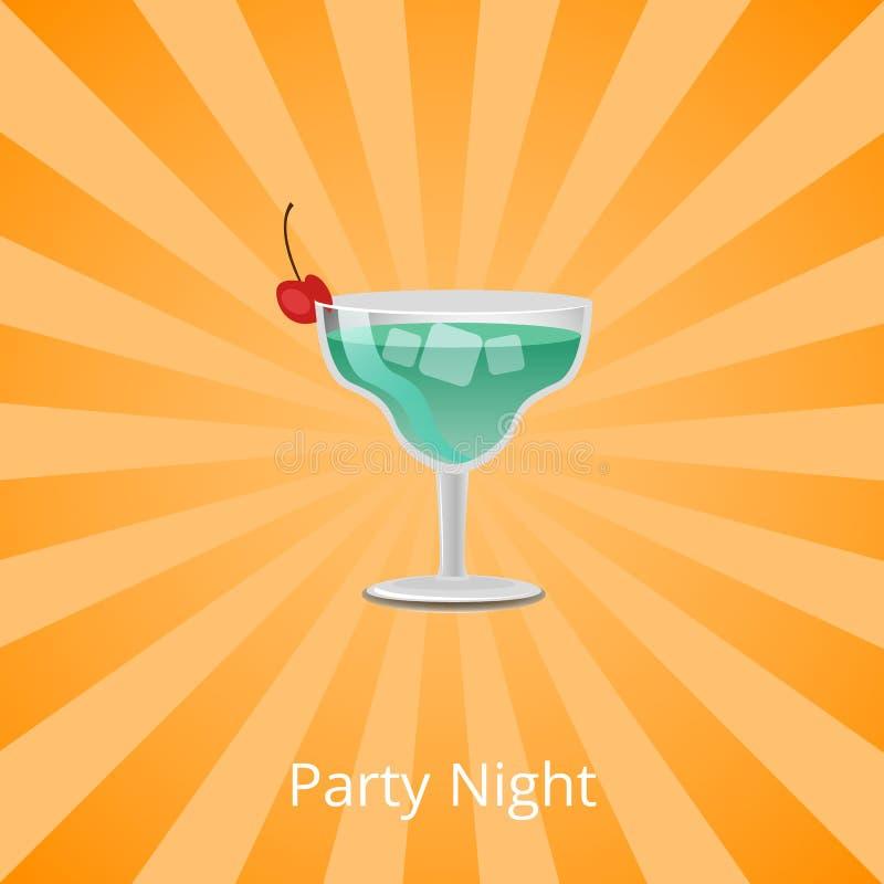 Nuit Margarita Decorated de partie par Cherry Cocktail illustration stock