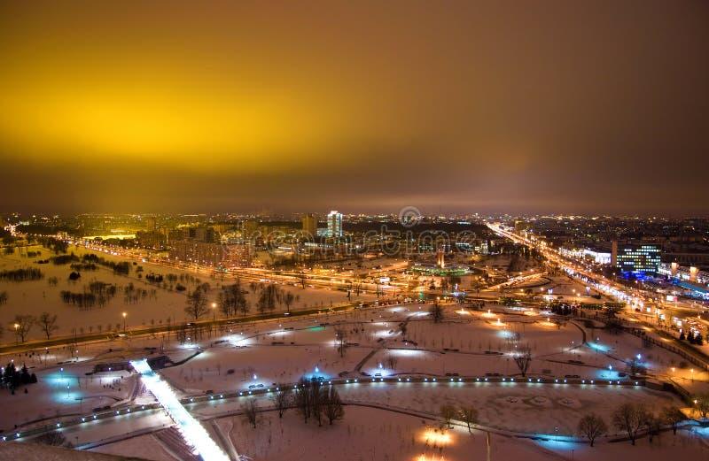 Nuit Minsk - capital du Belarus photos libres de droits
