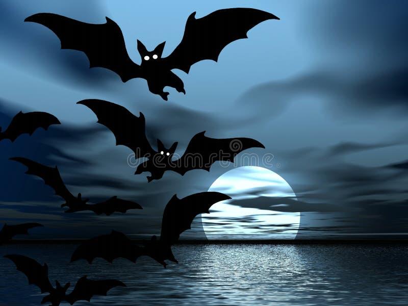 Nuit noire. Lune et 'bat' illustration libre de droits
