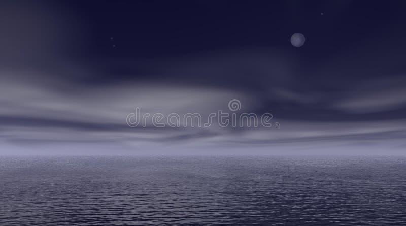 Nuit nuageuse au-dessus de la mer illustration de vecteur