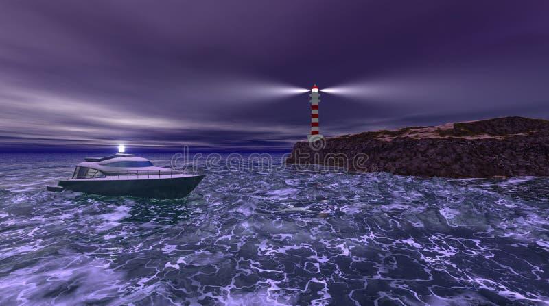 Nuit orageuse de phare illustration de vecteur