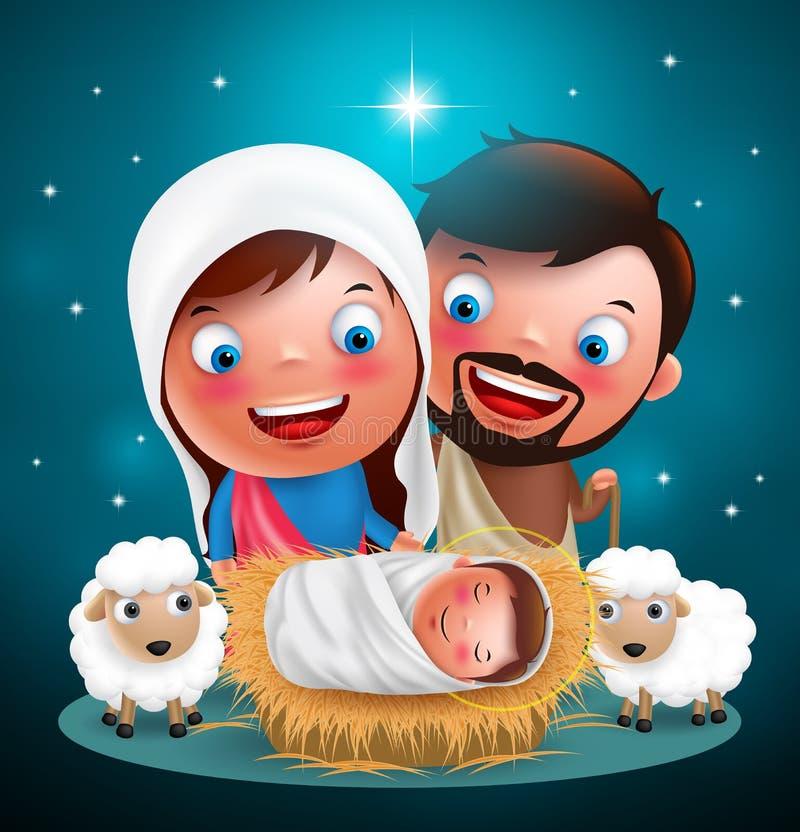 Nuit sainte où Jésus né dans la mangeoire avec Joseph et Mary dirigent des caractères pour Noël illustration stock