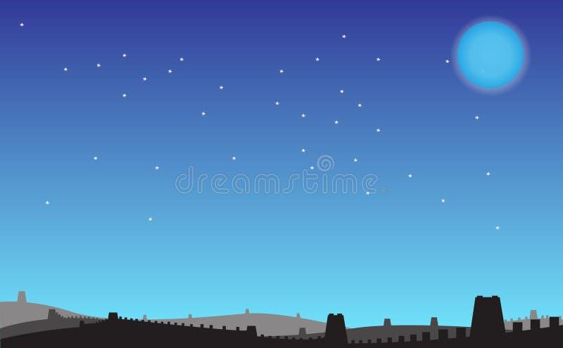 Nuit sous la Grande Muraille illustration libre de droits