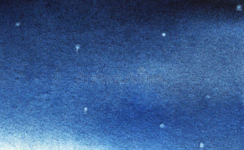 Nuit sturry de vraie aquarelle Bleu de gradient illustration libre de droits