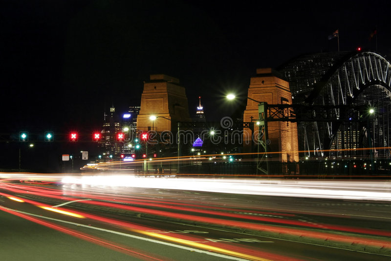 nuit Sydney de port de passerelle photos stock