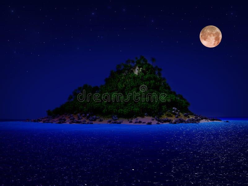 Nuit tropicale d'île illustration libre de droits