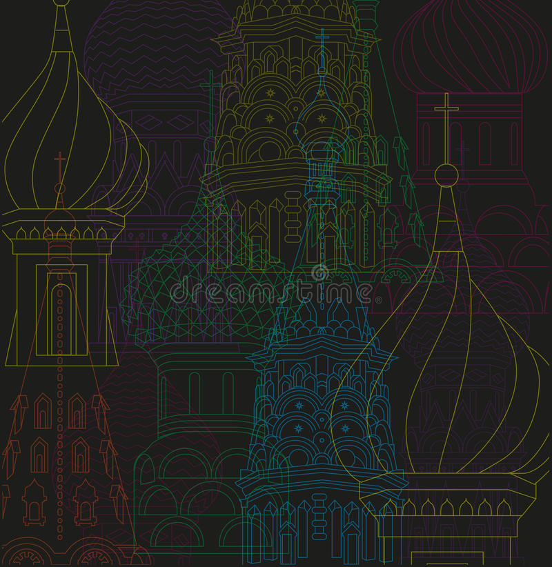Nuit vecteur de ville de Moscou d'illustration de dessin au trait illustration libre de droits