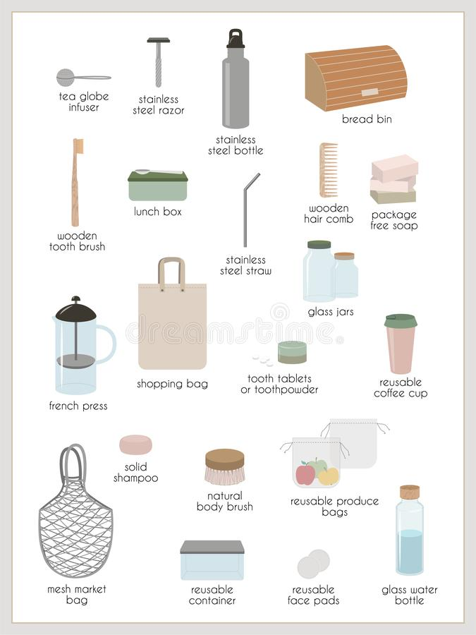 Nul afval en minimalism royalty-vrije illustratie