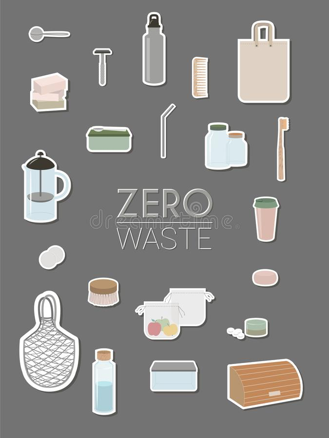 Nul afval, minimalism, groene eco - infographics vector illustratie