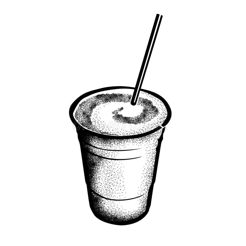 Frozen Irish Coffee Hand Drawn Sketch of Historic New Orleans Cocktail royalty free stock photo