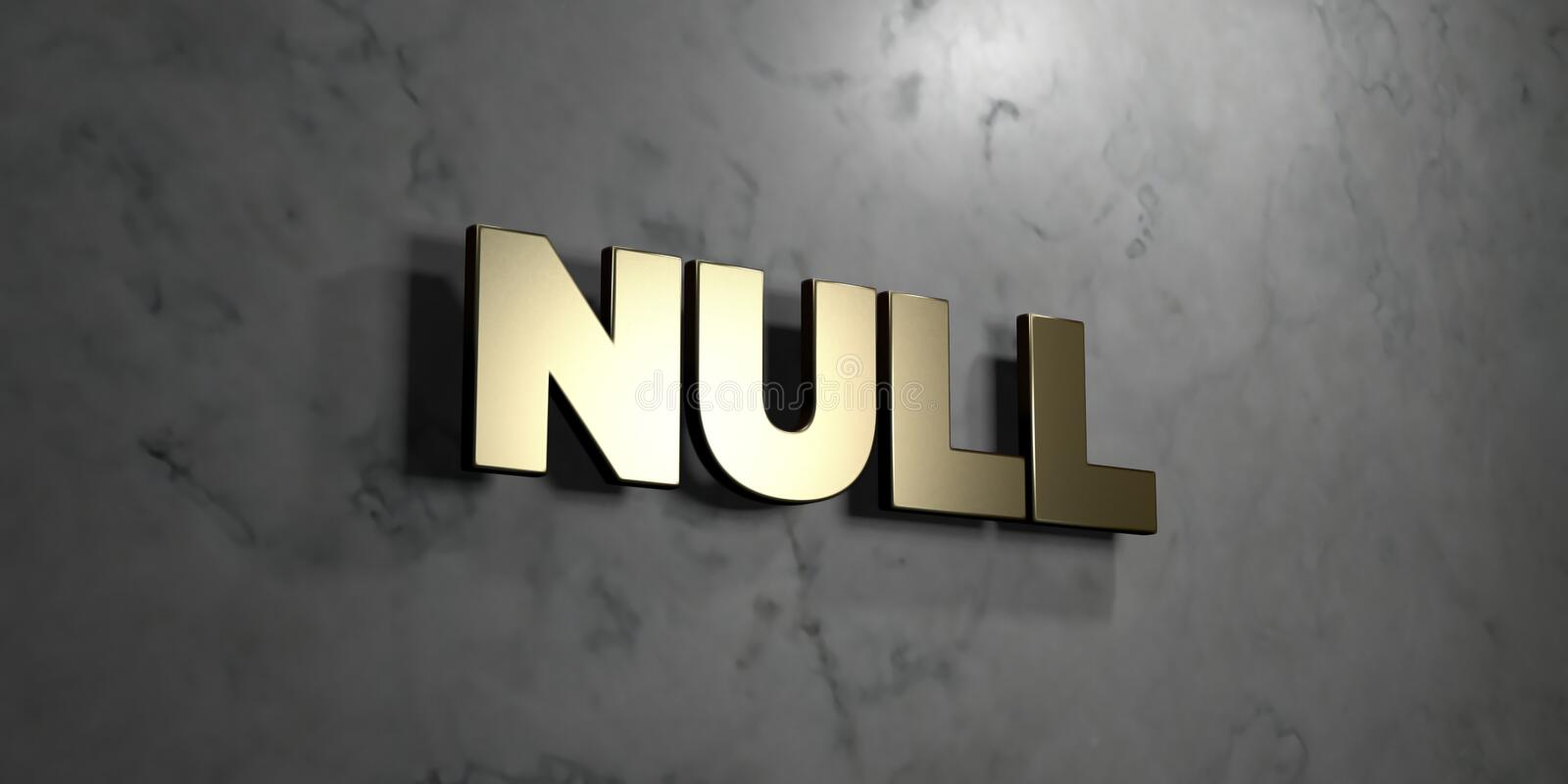 Null - Gold sign mounted on glossy marble wall - 3D rendered royalty free stock illustration. This image can be used for an online website banner ad or a print stock illustration