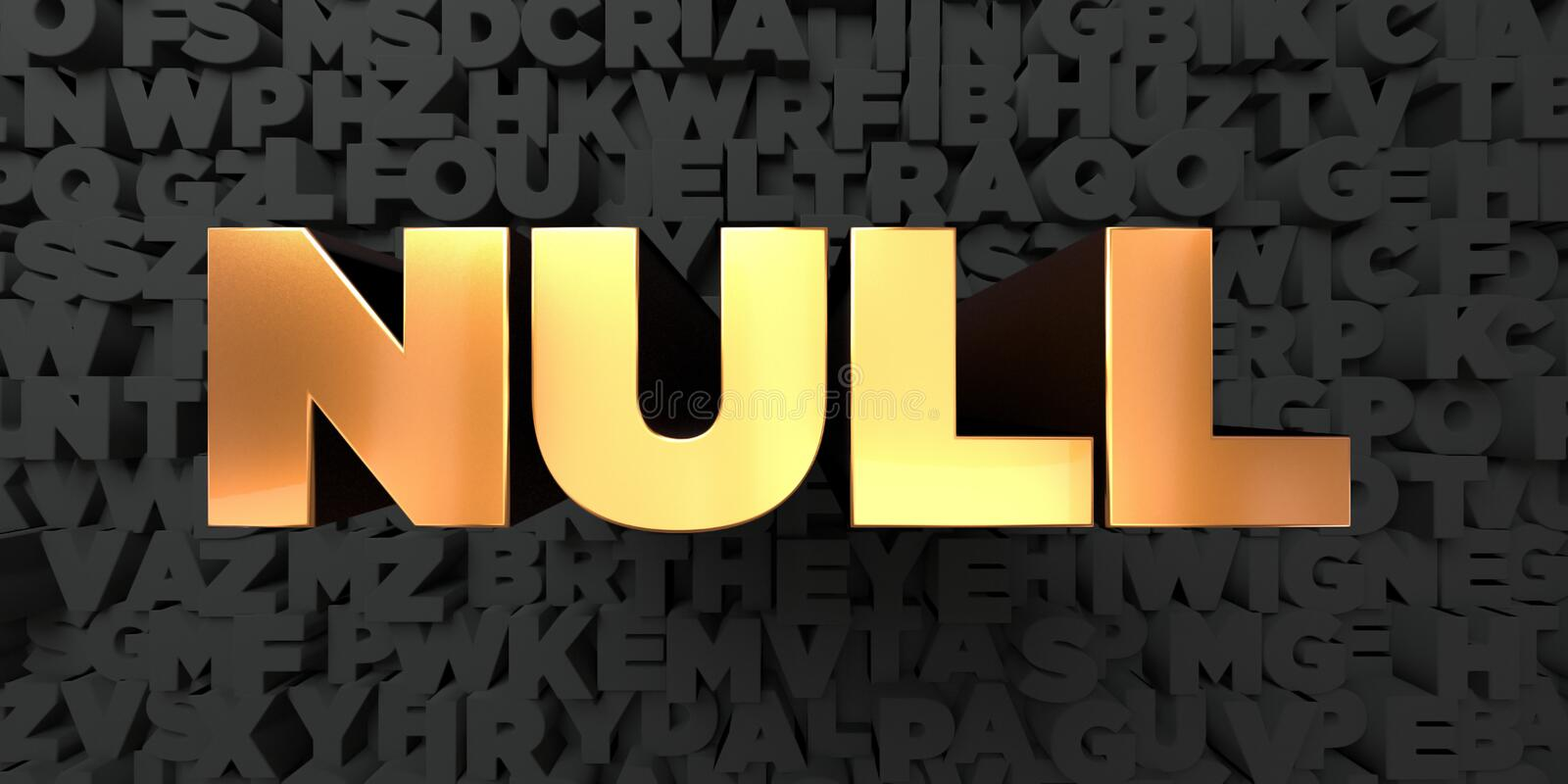 Null - Gold text on black background - 3D rendered royalty free stock picture. This image can be used for an online website banner ad or a print postcard stock illustration