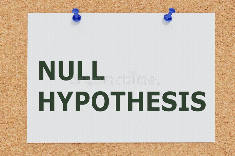 NULL HYPOTHESIS concept. 3D illustration of NULL HYPOTHESIS on cork board vector illustration