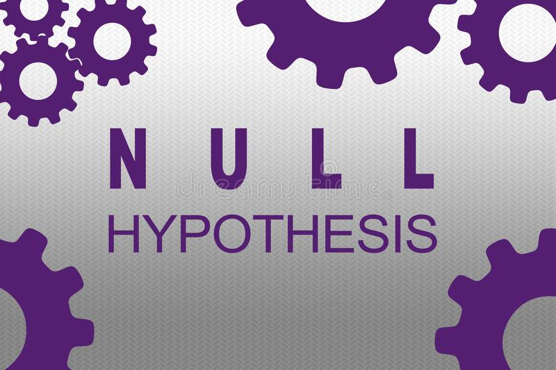 NULL HYPOTHESIS concept. NULL HYPOTHESIS sign concept illustration with purple gear wheel figures on gray gradient background vector illustration