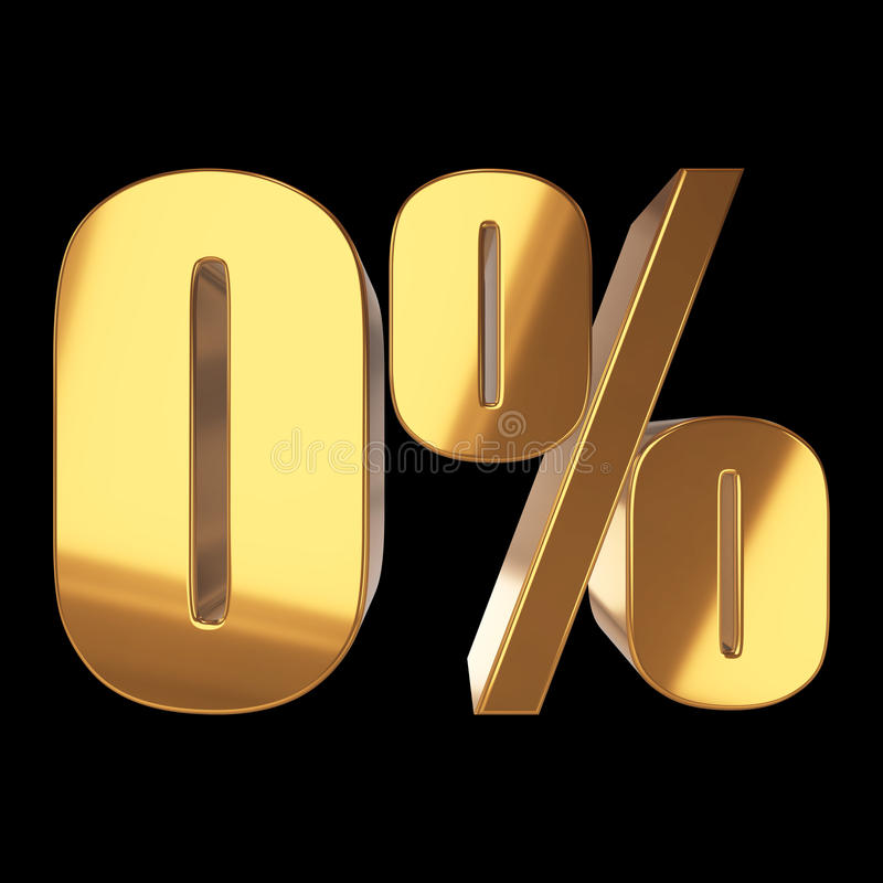 Null percent on black background. 3d render illustration vector illustration