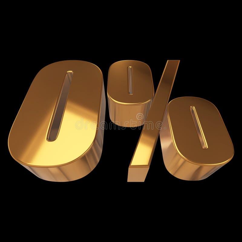 Null percent on black background. 3d render illustration stock illustration