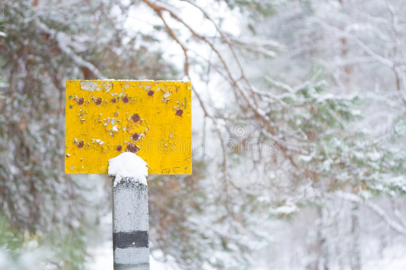 A null pointer in a forest in winter royalty free stock photo