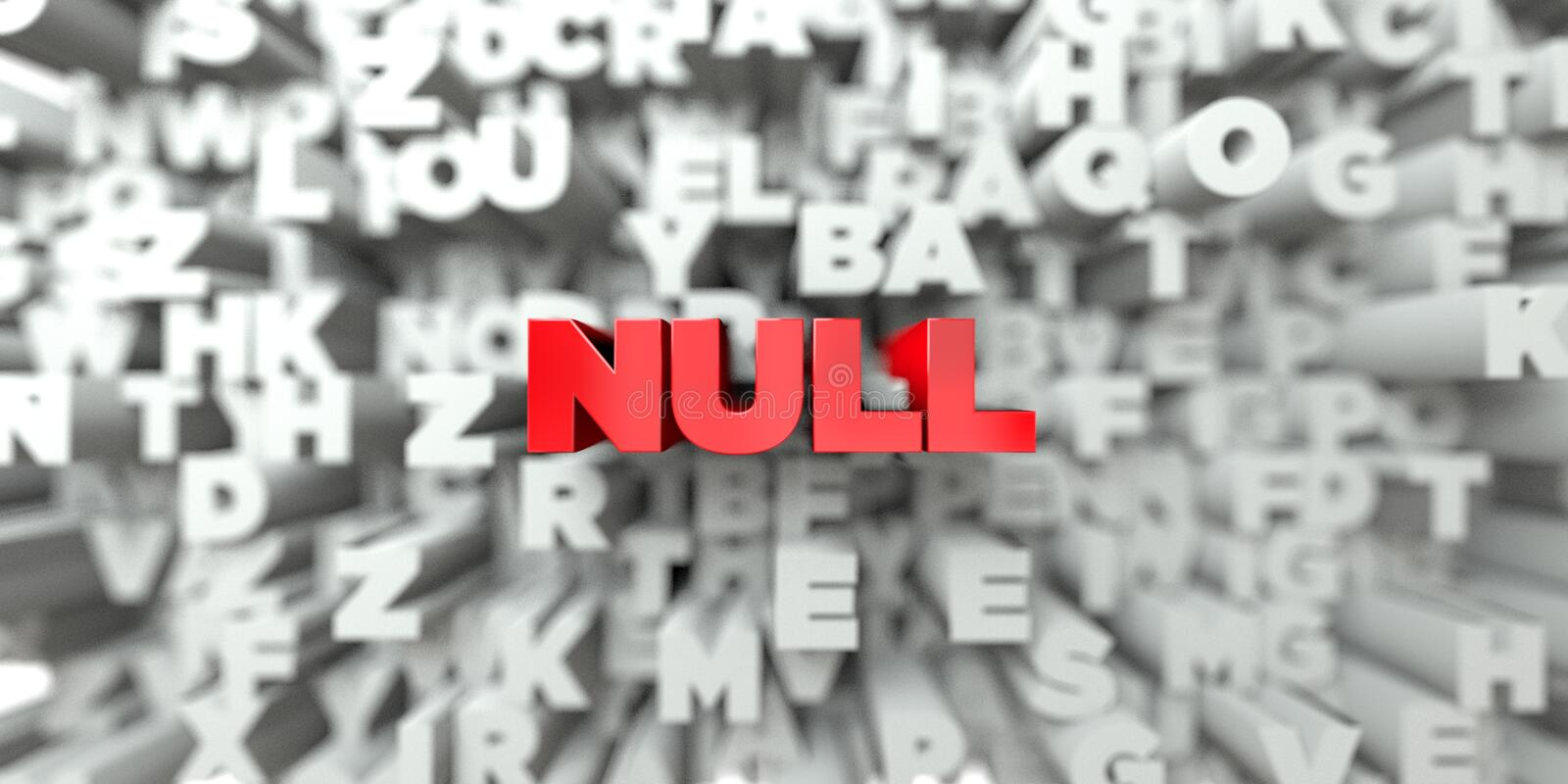 NULL - Red text on typography background - 3D rendered royalty free stock image. This image can be used for an online website banner ad or a print postcard royalty free illustration