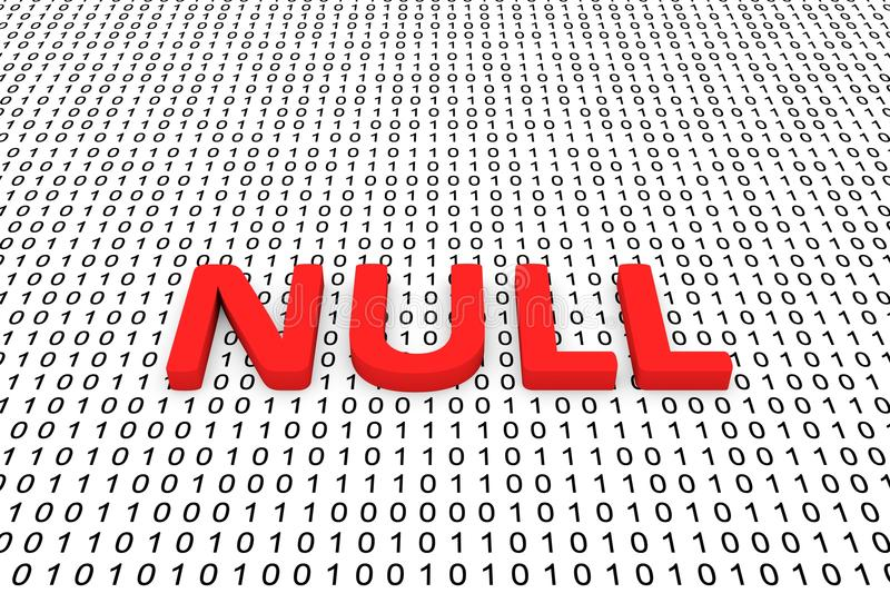 NULL. Is represented as a binary code 3D illustration royalty free illustration