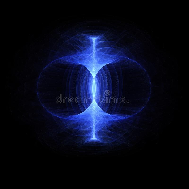 Nullpunktenergiefeld, stützbare hohe Partikelenergie fließen einen Torus durch Magnetfeld, Eigenheit, Gravitationswellen a lizenzfreie abbildung