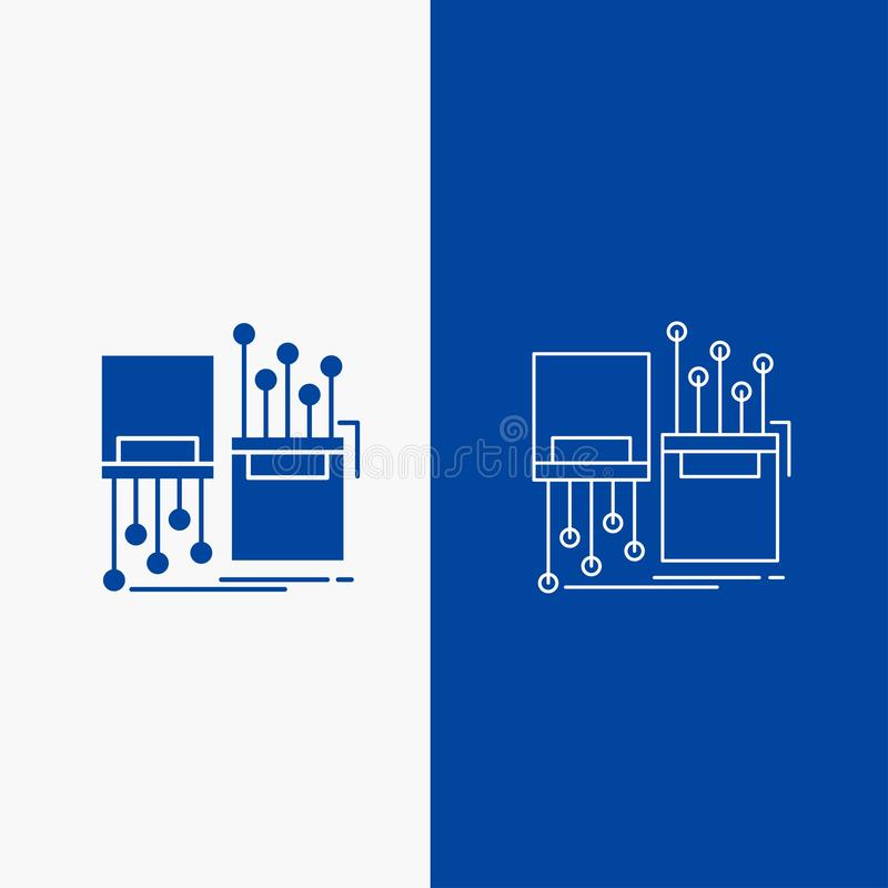 numérique, fibre, électronique, ruelle, bouton de Web de ligne de câble et de Glyph dans la bannière verticale de couleur bleue p illustration stock