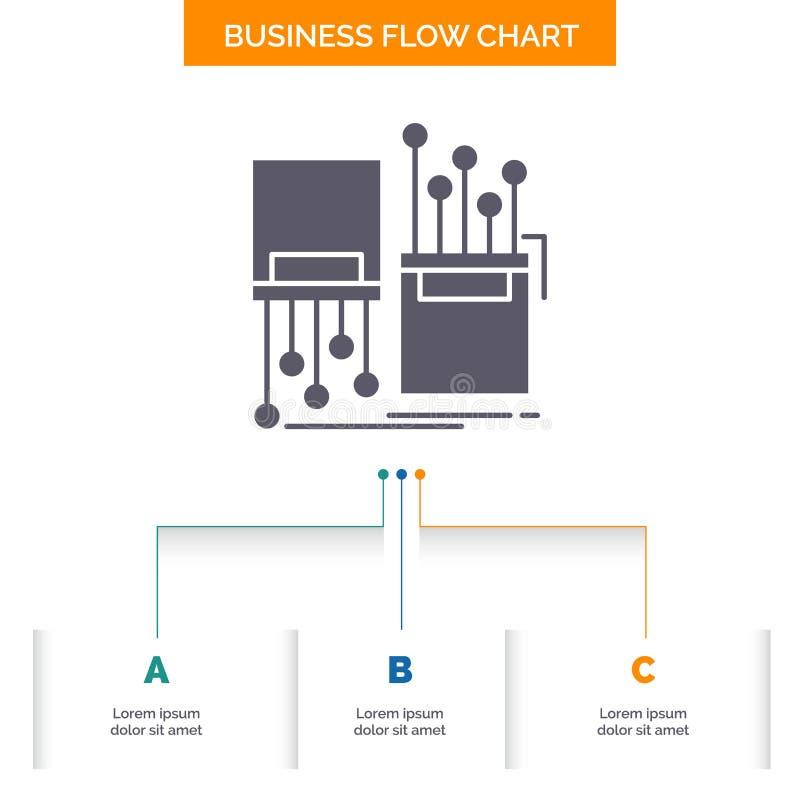 numérique, fibre, électronique, ruelle, conception d'organigramme d'affaires de câble avec 3 étapes Ic?ne de Glyph pour le calibr illustration stock