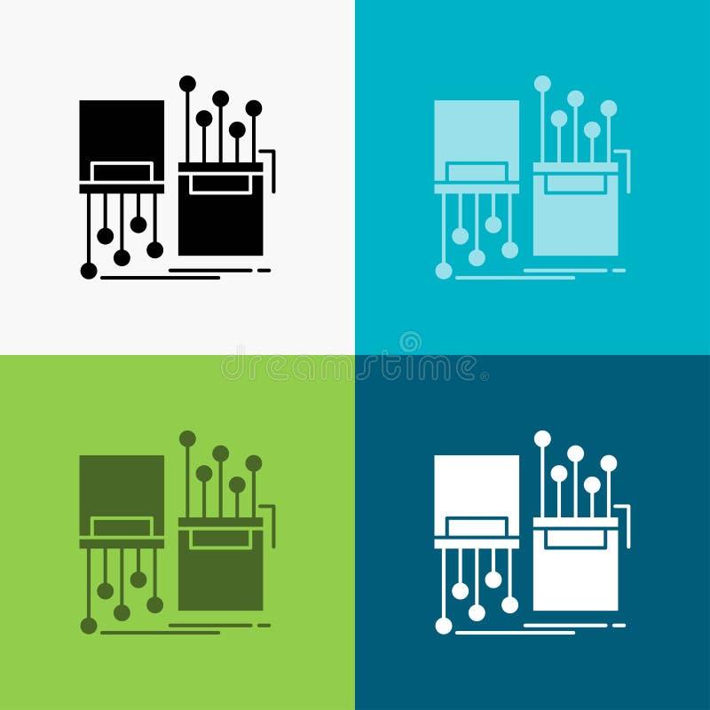 numérique, fibre, électronique, ruelle, icône de câble au-dessus de divers fond conception de style de glyph, con?ue pour le Web  illustration de vecteur