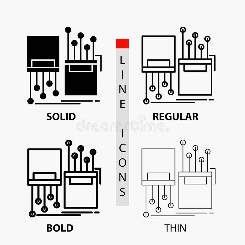 numérique, fibre, électronique, ruelle, icône de câble dans la ligne et le style minces, réguliers, audacieux de Glyph Illustrati illustration libre de droits
