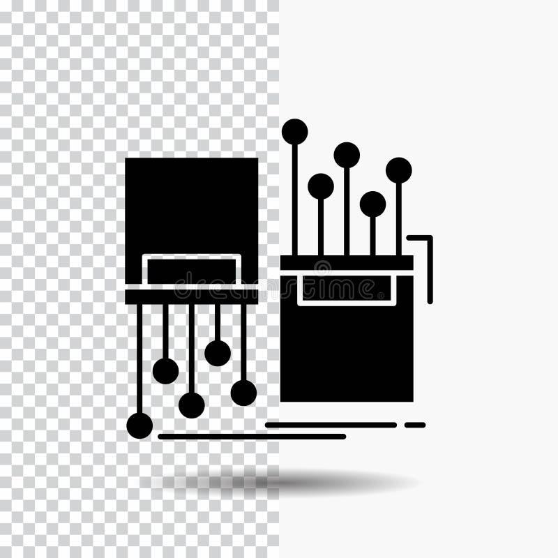 numérique, fibre, électronique, ruelle, icône de Glyph de câble sur le fond transparent Ic?ne noire illustration stock