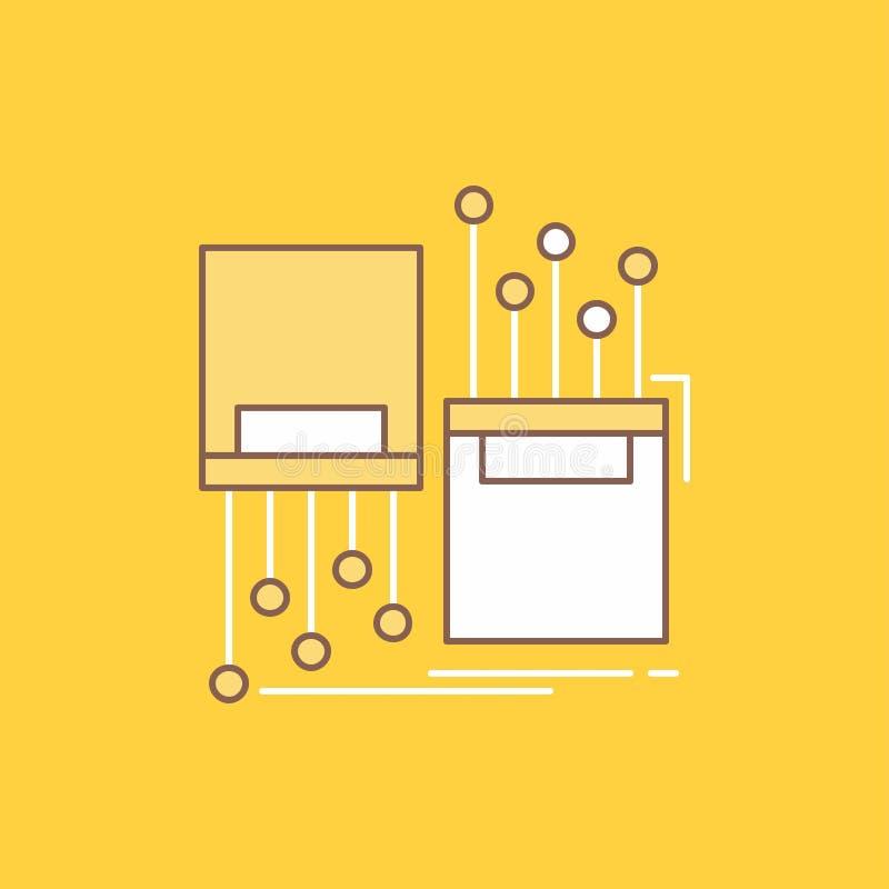 numérique, fibre, électronique, ruelle, ligne plate de câble a rempli icône Beau bouton de logo au-dessus de fond jaune pour UI e illustration libre de droits