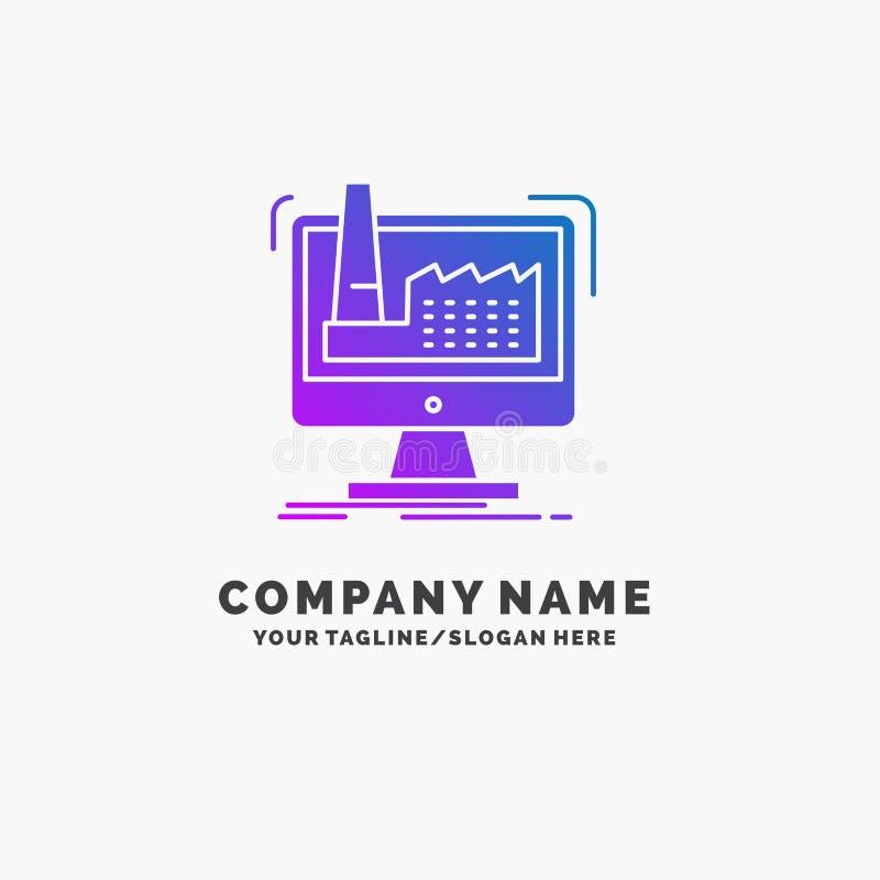 numérique, usine, fabrication, production, affaires pourpres Logo Template de produit Endroit pour le Tagline illustration de vecteur