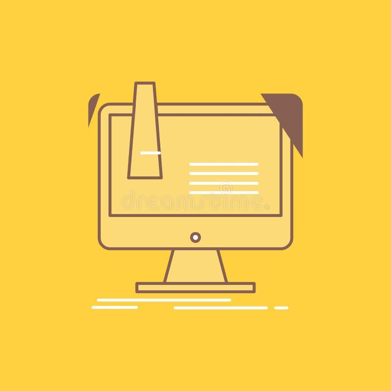numérique, usine, fabrication, production, ligne plate de produit a rempli icône Beau bouton de logo au-dessus de fond jaune pour illustration stock