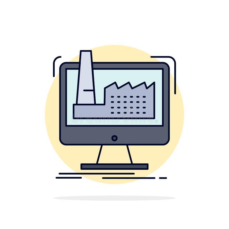 numérique, usine, fabrication, production, vecteur plat d'icône de couleur de produit illustration libre de droits
