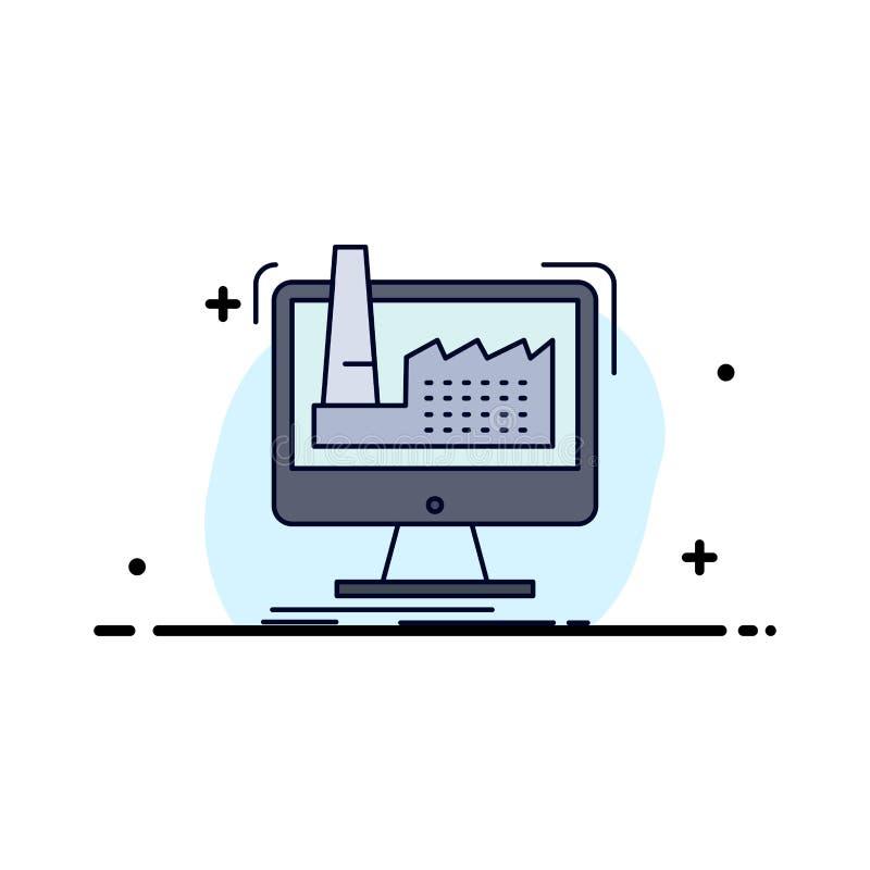 numérique, usine, fabrication, production, vecteur plat d'icône de couleur de produit illustration stock