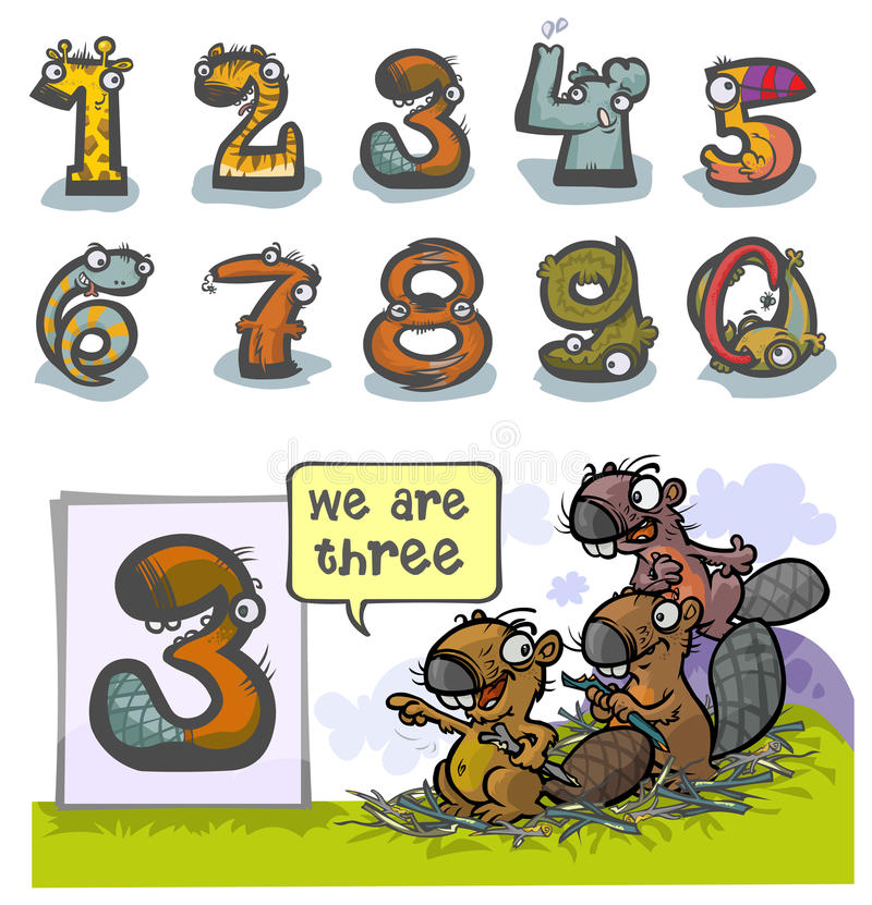 Numéro animal trois de bande dessinée illustration libre de droits