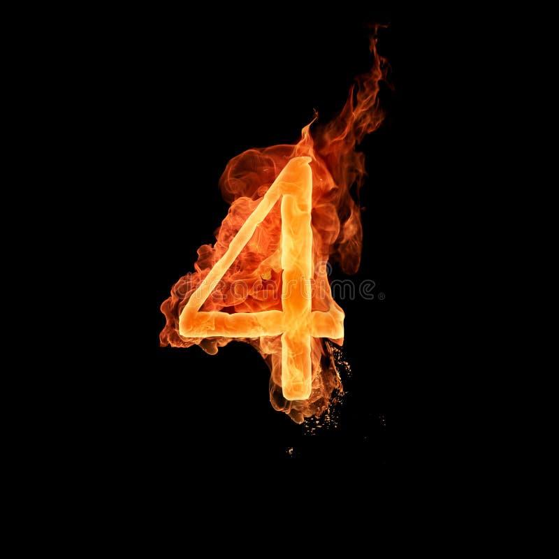 Numéro brûlant 4 illustration stock