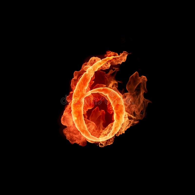 Numéro brûlant 6 illustration stock